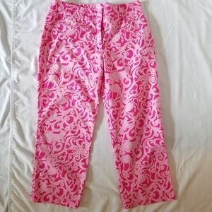 Lilly Pulitzer Cropped Pants Pink White Label 6